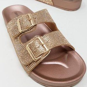 NEW Cape Robbin Rose Gold Buckle Sandals